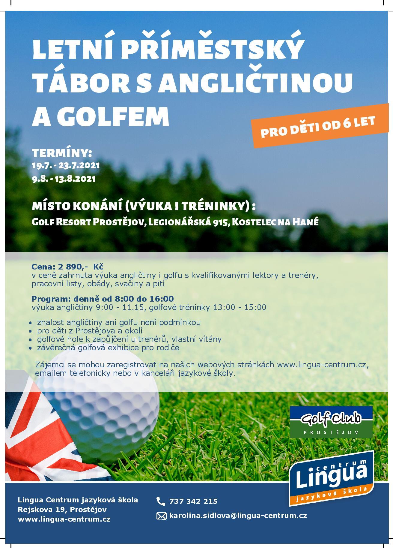 Letní příměstský tábor s angličtinou a golfem 2021